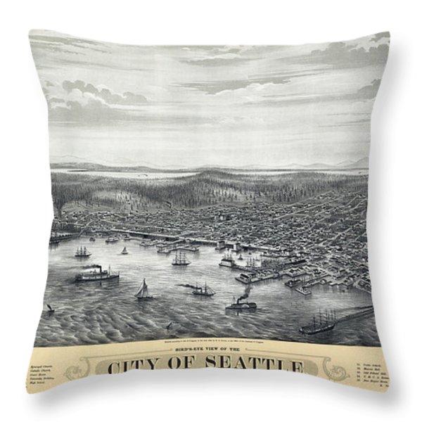 1878 Seattle Washington Map Throw Pillow by Daniel Hagerman
