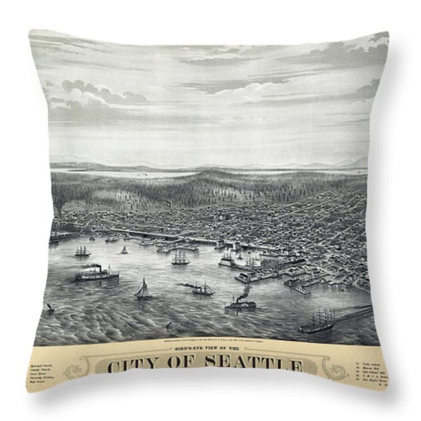 1878 SEATTLE WASHINGTON MAP Throw Pillow by Daniel Hagerman