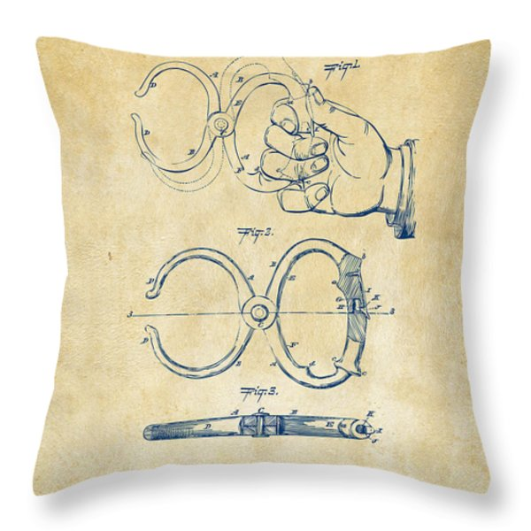1891 Police Nippers Handcuffs Patent Artwork - Vintage Throw Pillow by Nikki Marie Smith