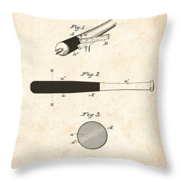 1902 Baseball Bat Patent Throw Pillow by Digital Reproductions