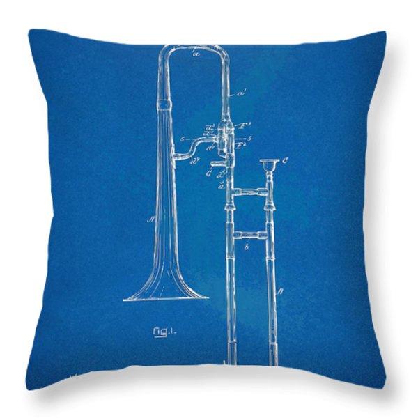 1902 Slide Trombone Patent Blueprint Throw Pillow by Nikki Marie Smith