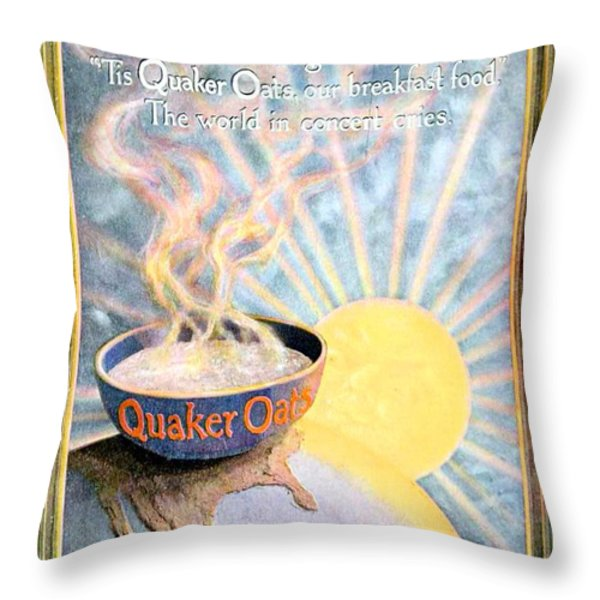 1906 - Quaker Oats Cereal Advertisement - Color Throw Pillow by John Madison