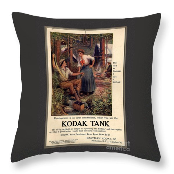 1907 Vintage Kodak Tank Advertising Throw Pillow by Anne Kitzman