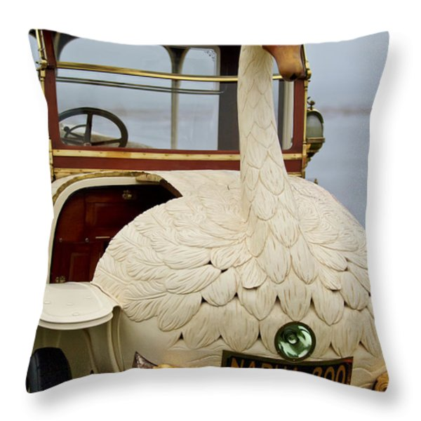 1910 Brooke Swan Car Throw Pillow by Jill Reger