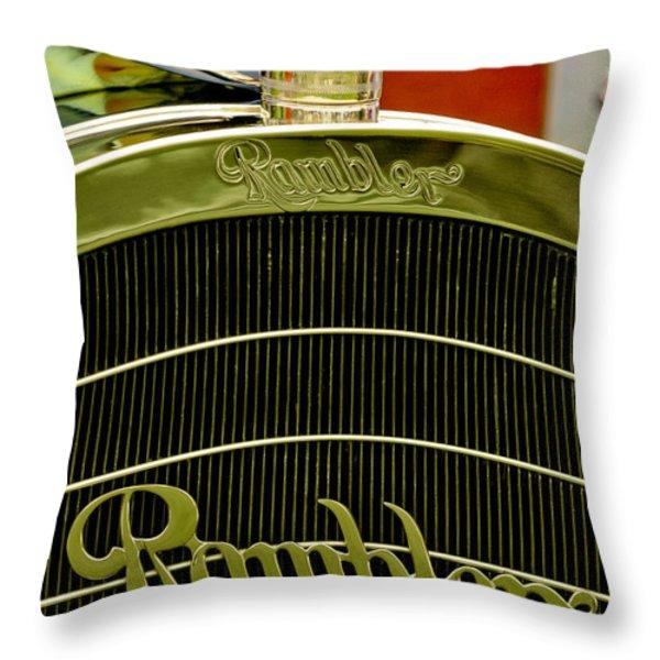 1910 Rambler Model 54 5 Passenger Touring Hood Ornament Throw Pillow by Jill Reger