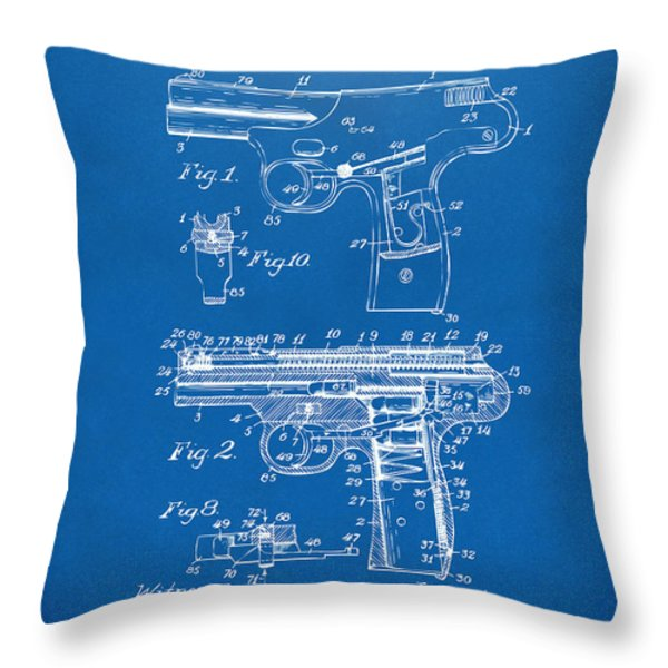 1911 Automatic Firearm Patent Artwork - Blueprint Throw Pillow by Nikki Marie Smith