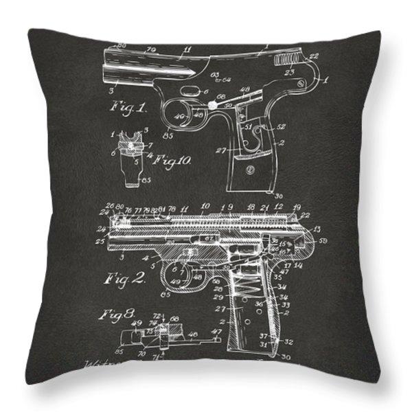 1911 Automatic Firearm Patent Artwork - Gray Throw Pillow by Nikki Marie Smith