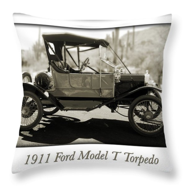 1911 Ford Model T Torpedo Throw Pillow by Jill Reger