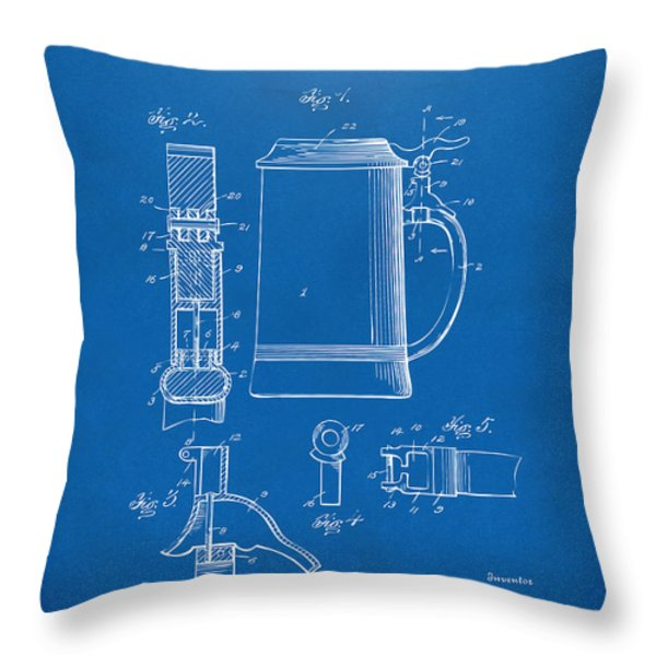 1914 Beer Stein Patent Artwork - Blueprint Throw Pillow by Nikki Marie Smith