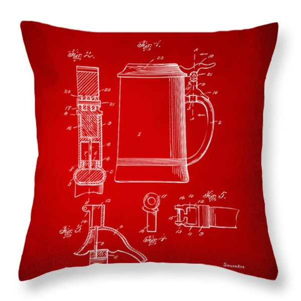 1914 Beer Stein Patent Artwork - Red Throw Pillow by Nikki Marie Smith