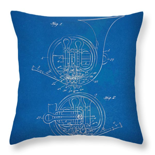1914 French Horn Patent Blueprint Throw Pillow by Nikki Marie Smith