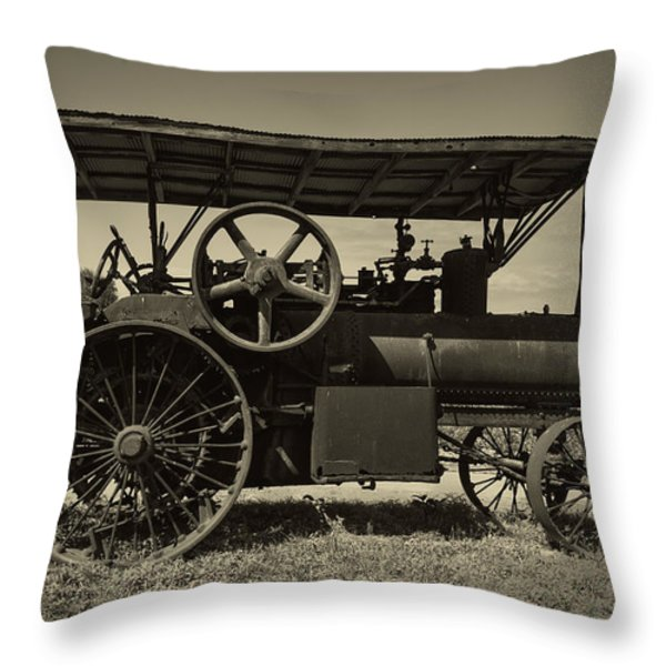1921 Aultman Taylor Tractor Throw Pillow by Debra and Dave Vanderlaan