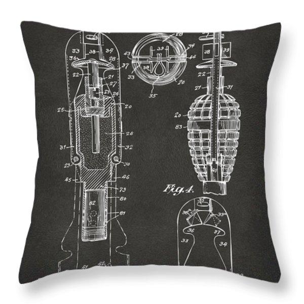 1921 Explosive Missle Patent Minimal Gray Throw Pillow by Nikki Marie Smith