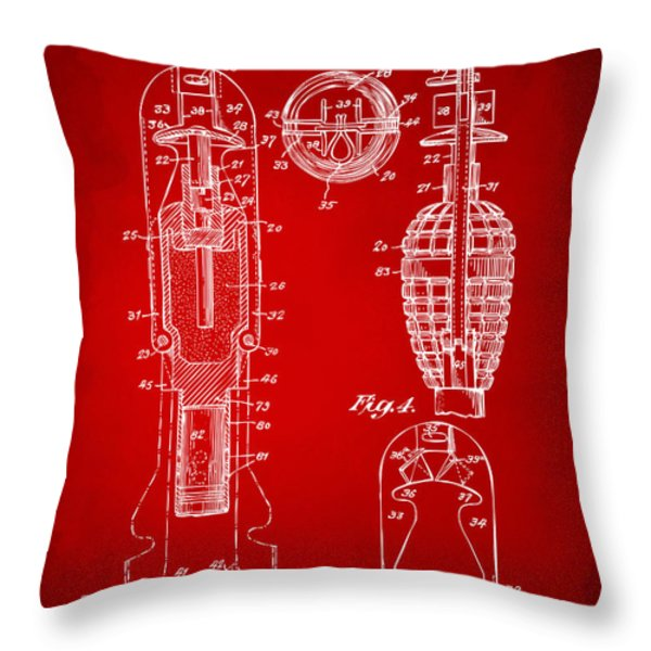 1921 Explosive Missle Patent Minimal Red Throw Pillow by Nikki Marie Smith