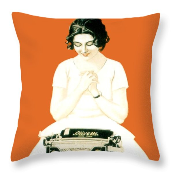 1924 - Olivetti Typewriter Advertisement Poster - Color Throw Pillow by John Madison