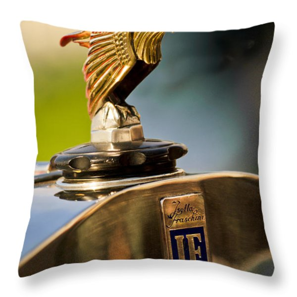 1925 Isotta Fraschini Tipo 8A S Corsica Boattail Speedster Hood Ornament Throw Pillow by Jill Reger