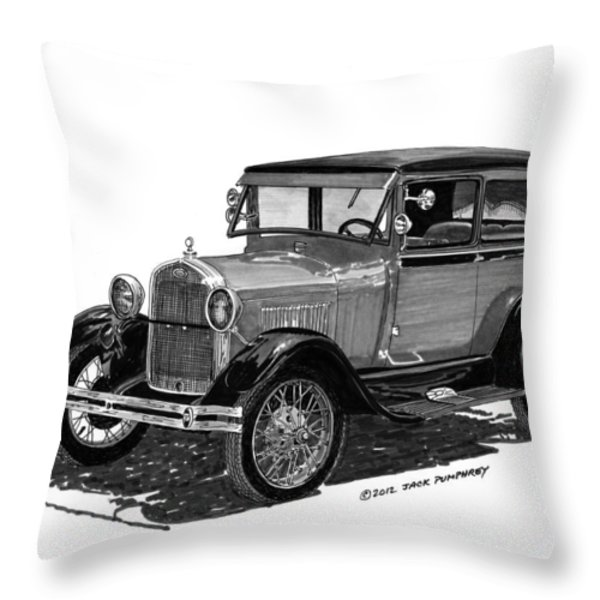 1928 Model A Ford 2 dr Sedan Throw Pillow by Jack Pumphrey