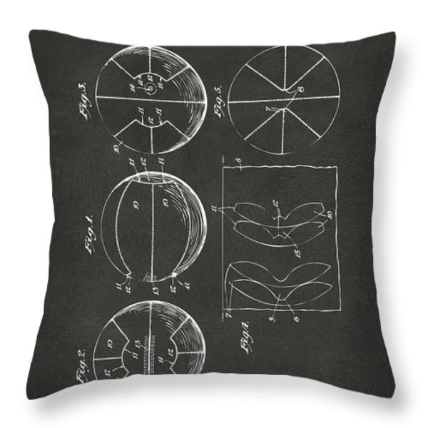 1929 Basketball Patent Artwork - Gray Throw Pillow by Nikki Marie Smith