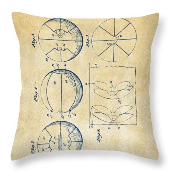 1929 Basketball Patent Artwork - Vintage Throw Pillow by Nikki Marie Smith