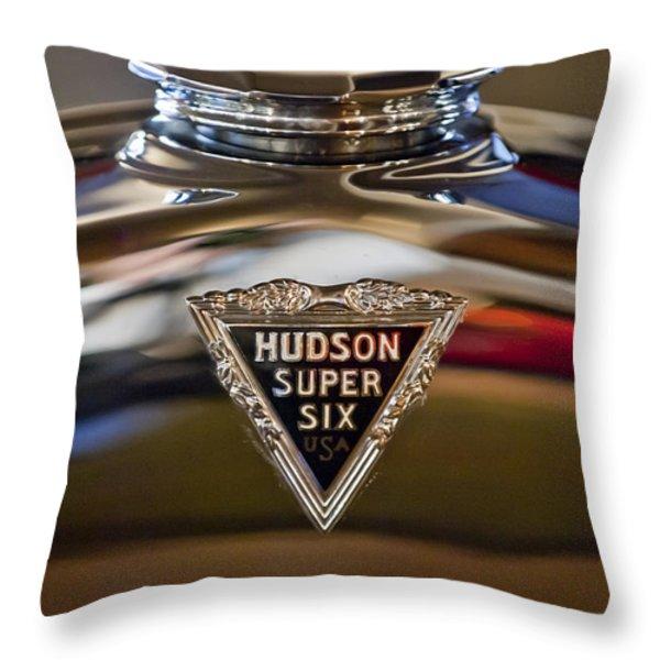 1929 Hudson Cabriolet Hood Ornament Throw Pillow by Jill Reger