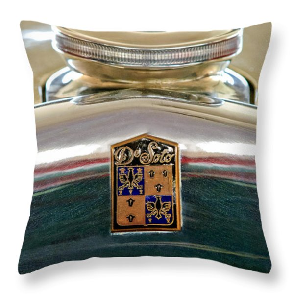 1930 Desoto K Hood Ornament Emblem Throw Pillow by Jill Reger