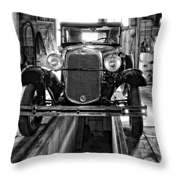 1930 Model T Ford monochrome Throw Pillow by Steve Harrington