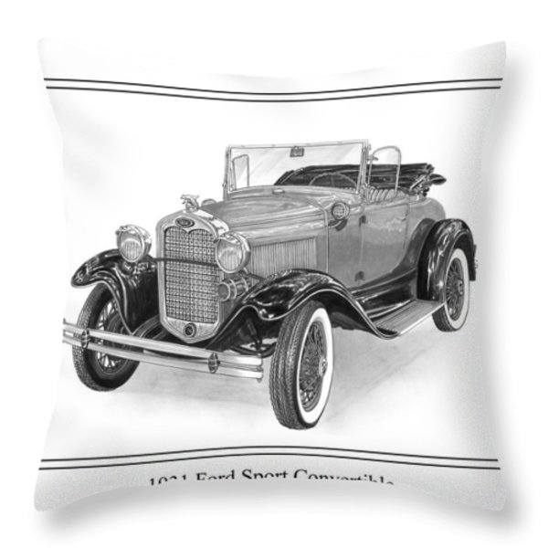 1931 Ford Convertible Throw Pillow by Jack Pumphrey