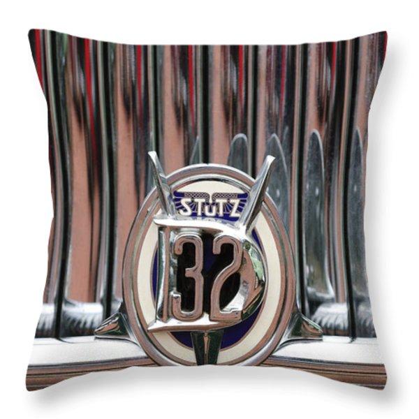 1932 Stutz Dv-32 Super Bearcat Emblem Throw Pillow by Jill Reger