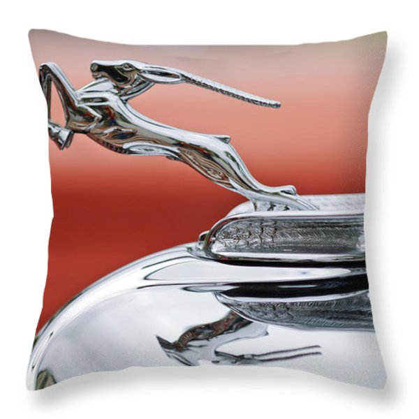 1933 Chrysler CL Imperial Custom Dual Windshield Phaeton Hood Ornament Throw Pillow by Jill Reger