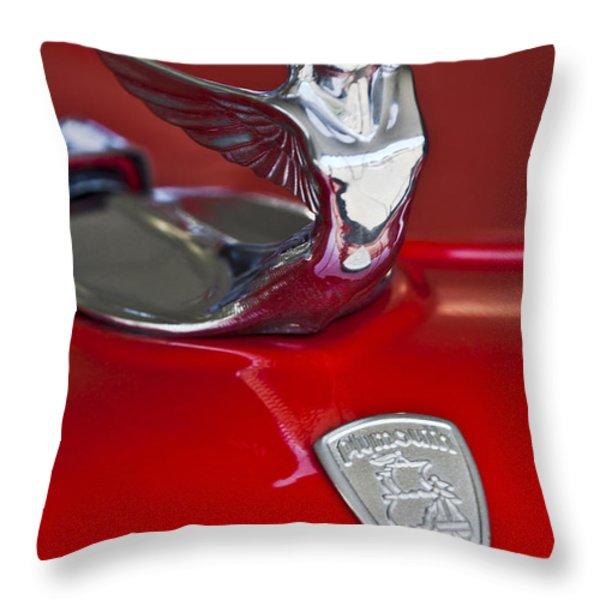 1933 Plymouth Hood Ornament Throw Pillow by Jill Reger
