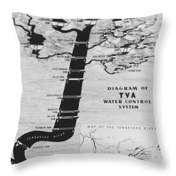 1933 TENNESSEE VALLEY AUTHORITY MAP Throw Pillow by Daniel Hagerman
