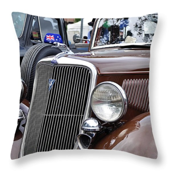1934 Ford 6 Wheel Equip Front End Throw Pillow by Kaye Menner