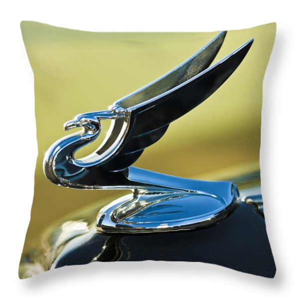 1935 Chevrolet Sedan Hood Ornament 2 Throw Pillow by Jill Reger