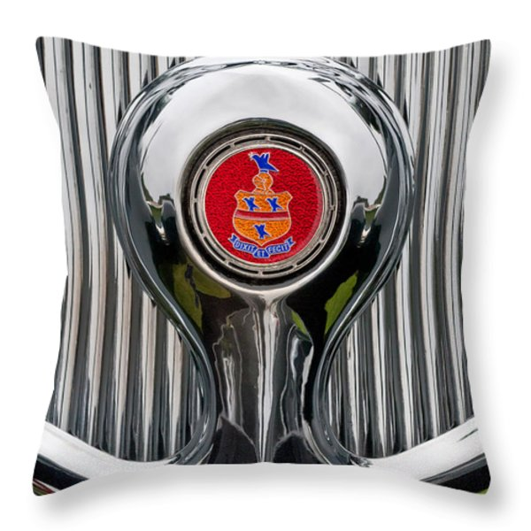 1935 Pierce-Arrow 845 Coupe Emblem Throw Pillow by Jill Reger
