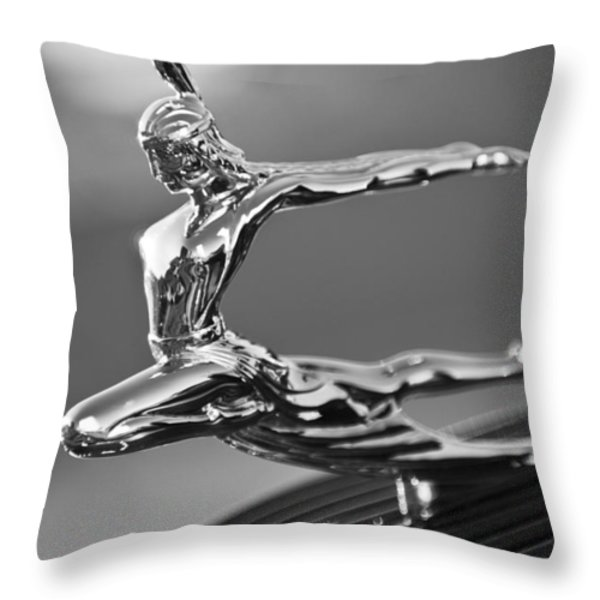 1935 Pontiac Sedan Hood Ornament 4 Throw Pillow by Jill Reger