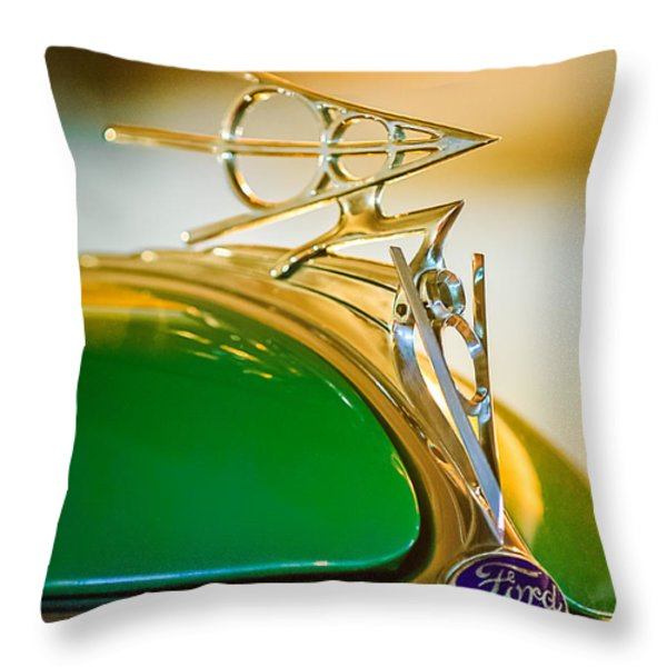 1936 Ford Deluxe Roadster Hood Ornament Throw Pillow by Jill Reger
