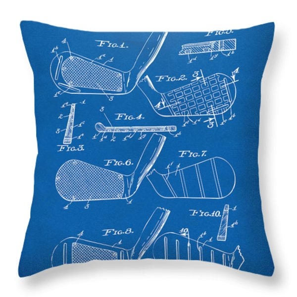 1936 Golf Club Patent Blueprint Throw Pillow by Nikki Marie Smith