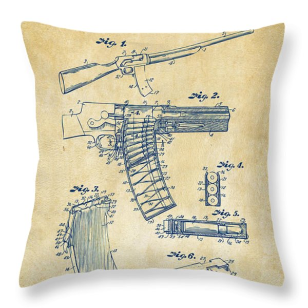 1937 Police Remington Model 8 Magazine Patent Artwork - Vintage Throw Pillow by Nikki Marie Smith