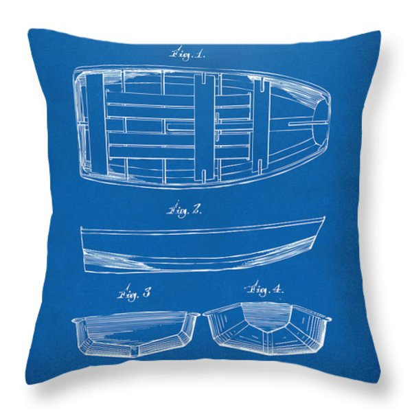 1938 Rowboat Patent Artwork - Blueprint Throw Pillow by Nikki Marie Smith
