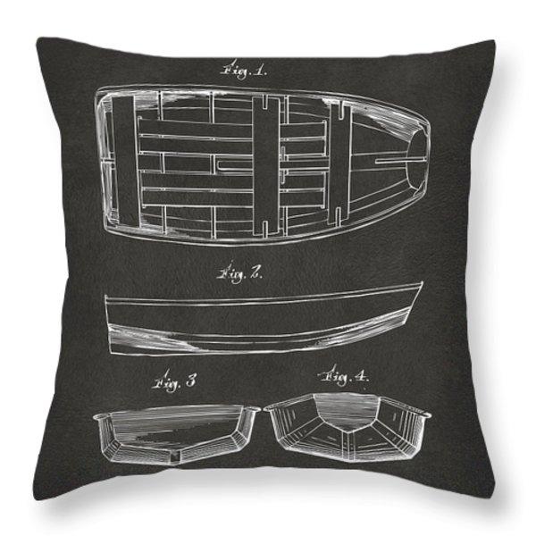 1938 Rowboat Patent Artwork - Gray Throw Pillow by Nikki Marie Smith