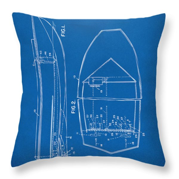 1943 Chris Craft Boat Patent Blueprint Throw Pillow by Nikki Marie Smith