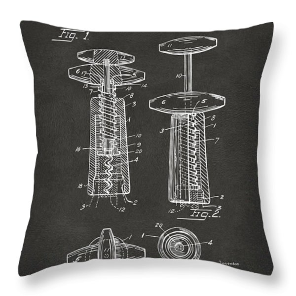 1944 Wine Corkscrew Patent Artwork - Gray Throw Pillow by Nikki Marie Smith