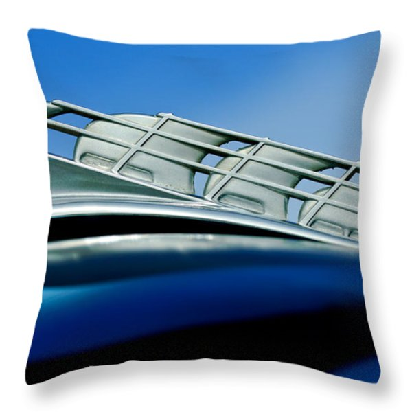1946 Plymouth Hood Ornament Throw Pillow by Jill Reger
