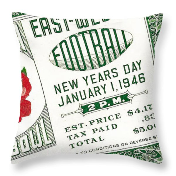 1946 Rose Bowl Ticket - Usc Vs Alabama Throw Pillow by David Patterson