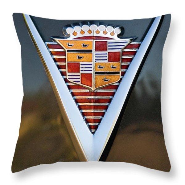 1947 Cadillac Emblem Throw Pillow by Jill Reger