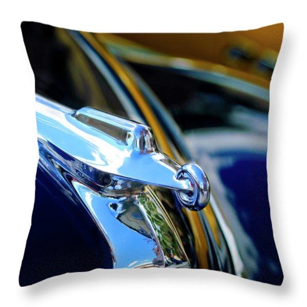 1947 Packard Hood Ornament 4 Throw Pillow by Jill Reger
