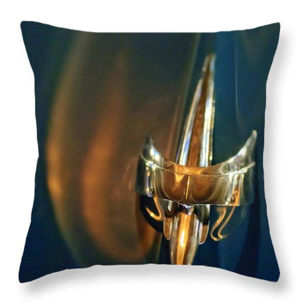 1949 Mercury Woody Wagon Hood Ornament Throw Pillow by Jill Reger