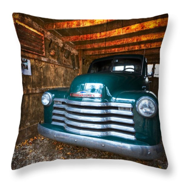 1950 Chevy Truck Throw Pillow by Debra and Dave Vanderlaan