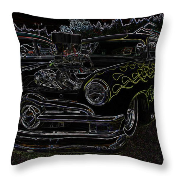 1950 Ford Coupe Neon Glow Throw Pillow by Steve McKinzie