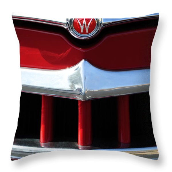1950 Willys Overland Jeepster Hood Emblem Throw Pillow by Jill Reger